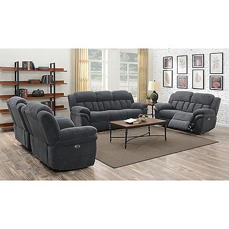 Celeste 3-Piece Sofa, Loveseat & Chair Set - Carbon