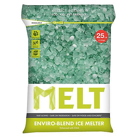 MELT 25 lb. Resealable Bag Premium Enviro-Blend Ice Melter w/ CMA - MELT25EB
