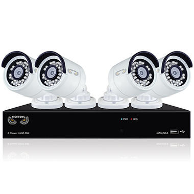 Night Owl 8 Channel 4MP NVR Security System with 2 TB HDD,  4 4MP Wired IP Cameras, and 120' Night Vision