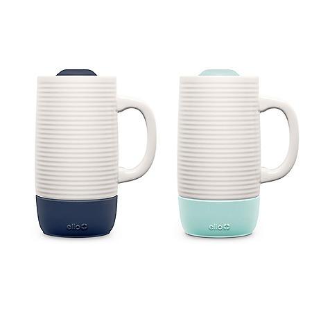Ello Jane Ceramic Travel Mug Set, 2 Pack (Assorted Colors)