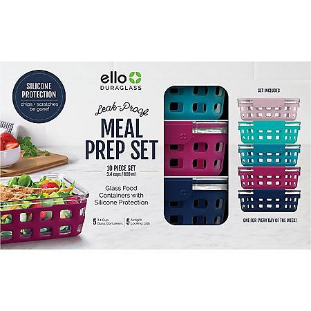 Ello Duraglass 10 Piece Leak Proof Meal Prep Containers