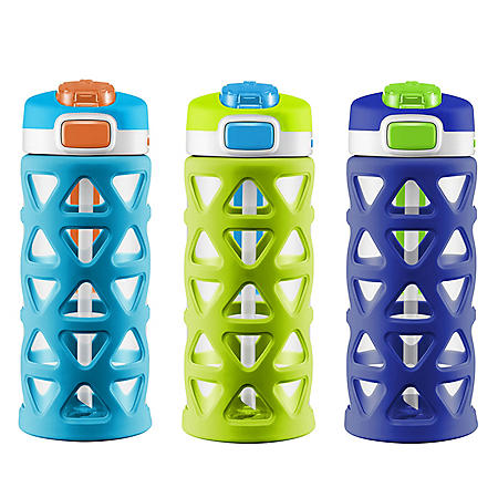 Ello Kids 16 oz. Luna Water Bottles, 3 Pack (Assorted Colors)