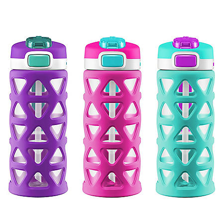 Ello Kids 16 oz. Luna Water Bottles, 3 Pack (Assorted Colors)