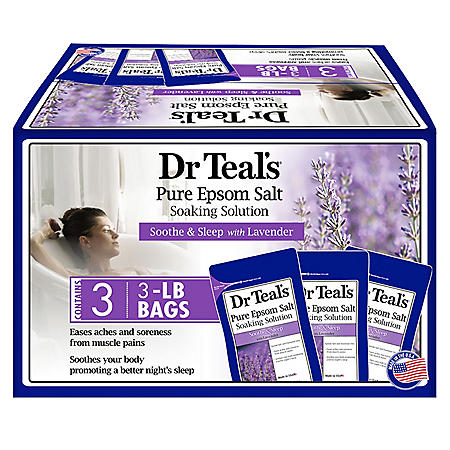 Dr. Teal's Pure Epsom Salt Soothe and Sleep Lavender Soaking Solution (3 lbs., 3 pk.)