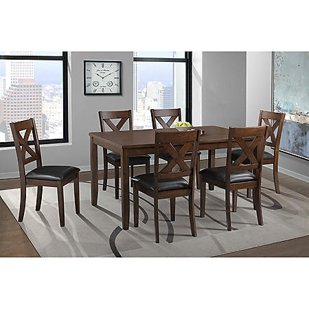Alexa 7-Piece Dining Set (Choose Height & Color)