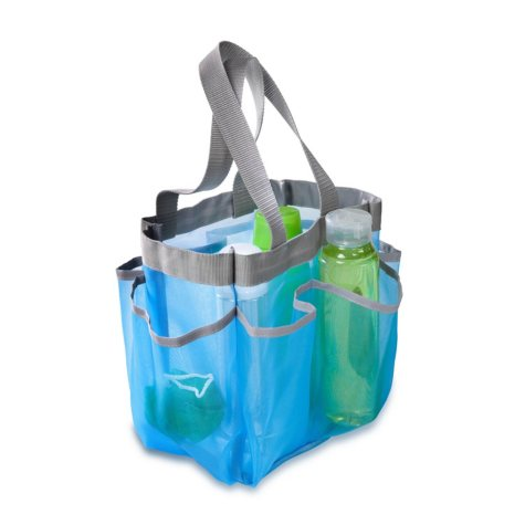 Honey-Can-Do Quick-Dry Shower Tote, Aqua/Silver