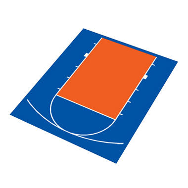 Duraplay Basketball Half Court - Royal Blue and Orange (Choose Your Size)