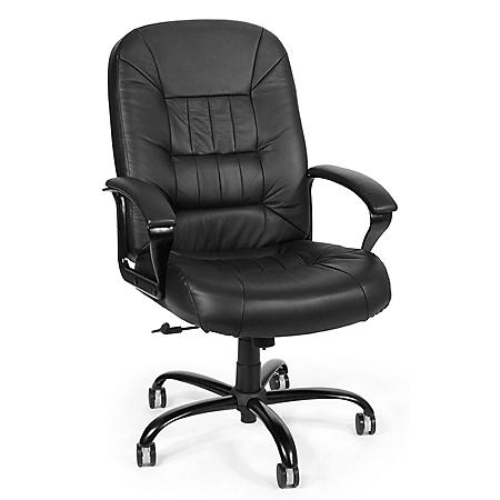 OFM Core Collection Leather Big and Tall Executive Office Chair, in Black (800-L)