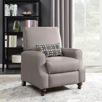 Morrisofa Shelby High Leg Recliner with Kidney Accent Pillow