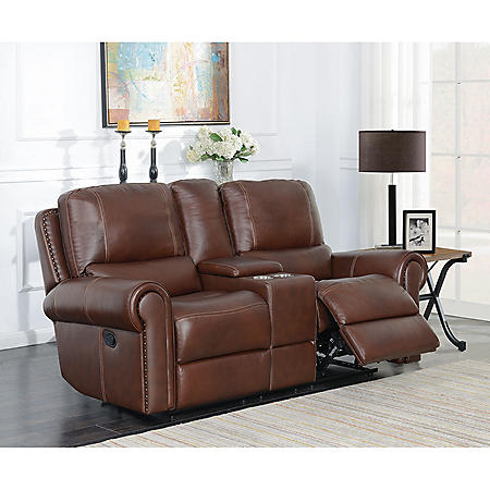 Member's Mark Harrison Dual Reclining Leather Console Loveseat with USB/AC in Console and Stainless Steel Cup Holders