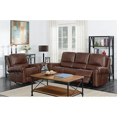 Member S Mark Harrison Reclining Leather Sofa And Rocker Recliner Set