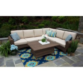 Aspen 5 Piece Sectional Set With Sunbrella Fabric