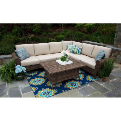 Aspen 5 Piece Sectional Set With Sunbrella Fabric