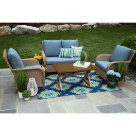 Tupelo 4 Piece Deep Seating Set With Sunbrella Fabric