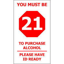 "T3 Must be 21/ Have ID Ready Decal, 4"" x 7"" (6 pk.)"