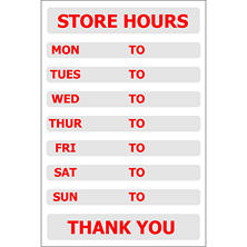 "T3 Store Hours Decal, 8"" x 12"" (6 pk.)"