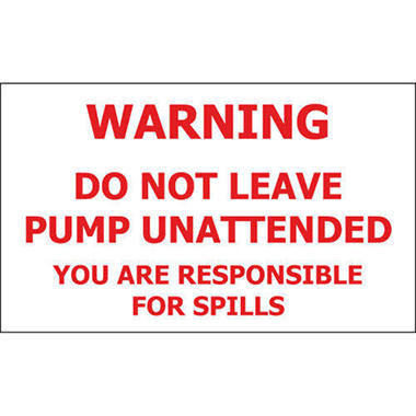 T3 Do Not Leave Pump Unattended  Decal, 5