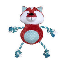 "Mugsy's XXL 32"" Squeaky Plush with Rope Arms and Legs, Fox"