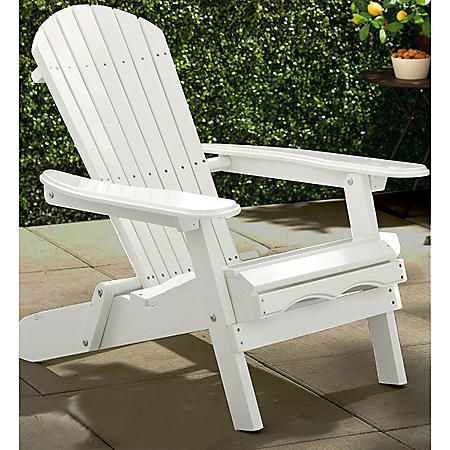 Simple Acacia Adirondack Chair, White
