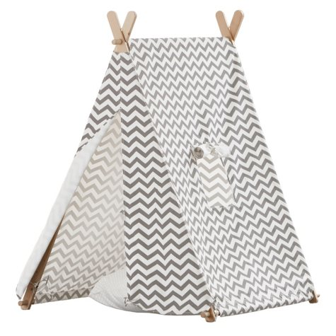 Indoor Kid's Tent, Gray & White Zigzag