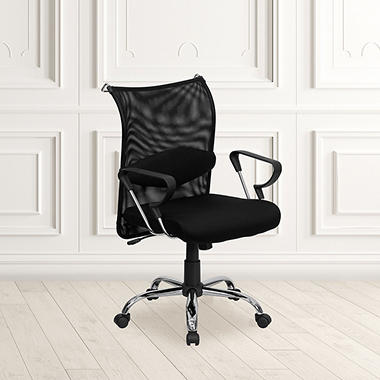 Flash Furniture Mid-Back Mesh Manager's Chair, Black