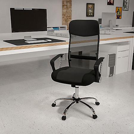 High Back Black Split Leather Chair