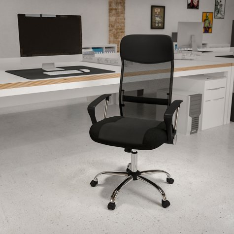High Back Black Split Leather Chair