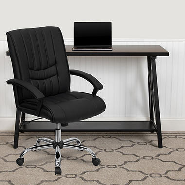 Flash Furniture Mid-Back Leather Manager's Chair, Black
