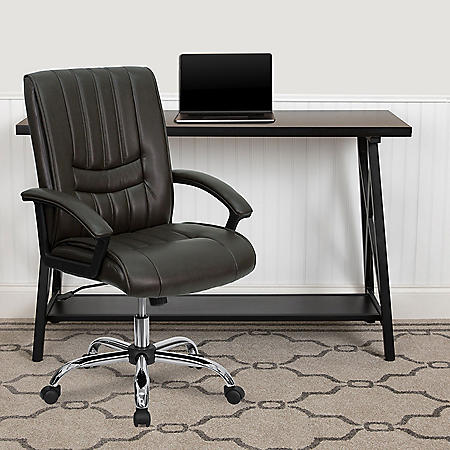 Flash Furniture Mid-Back Leather Manager's Chair (Various Colors)