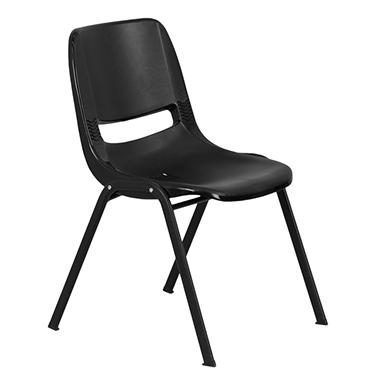 Perfect Flash Furniture Ergonomic Shell Stacking Chair Black