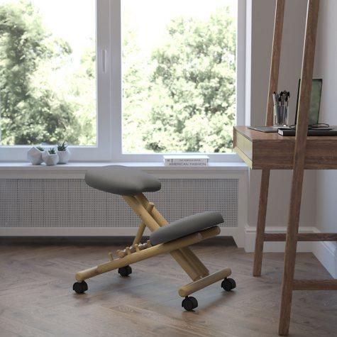 Wooden Ergonomic Kneeling Posture Chair-Gray