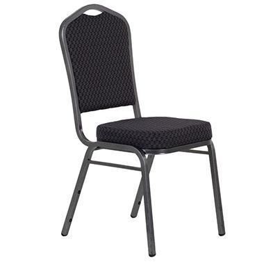 Fabric Crown Back Banquet Stacking Chairs, Black - 40 Pack