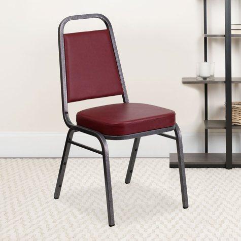 Flash Furniture Vinyl Banquet Stack Chair Burgundy