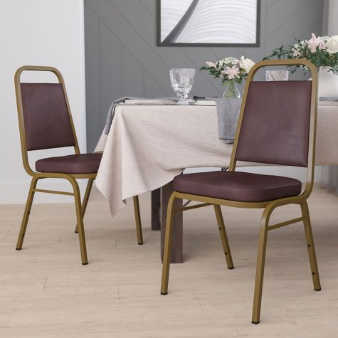 Flash Furniture Vinyl Banquet Stack Chair with Gold Frame - Brown