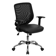 Flash Furniture Mesh Back with Leather Seat Office Chair, Black