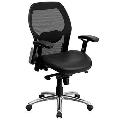 ergonomic mesh office chair with black leather seat - sam's club
