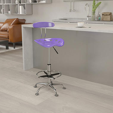 Flash Furniture Tractor Seat Drafting Chair, Violet