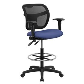 Flash Furniture Navy Blue Fabric And Mesh Drafting Stool W Arms