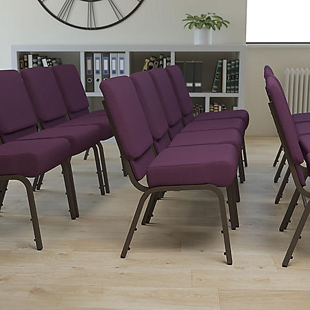 Hercules Extra Wide Stacking Church Chair with Gold Vein Frame, Plum