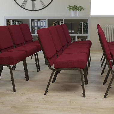 Hercules Extra Wide Stacking Church Chair with Gold Vein Frame, Burgundy