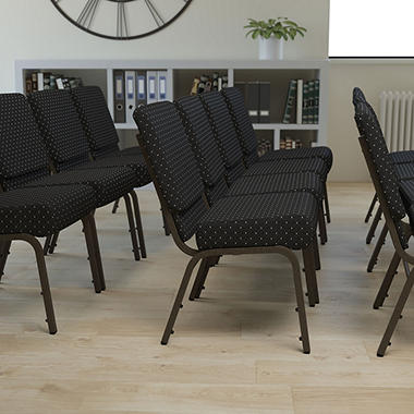 High Quality Hercules Extra Wide Stacking Church Chair With Gold Vein Frame, Black