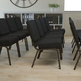 Hercules Extra Wide Stacking Church Chair with Gold Vein Frame, Black