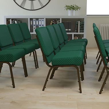 Hercules Extra Wide Stacking Church Chair with Gold Vein Frame, Hunter Green