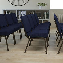 Hercules Extra Wide Stacking Church Chair with Gold Vein Frame, Navy