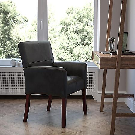 Flash Furniture Leather Executive Reception Chair, Black