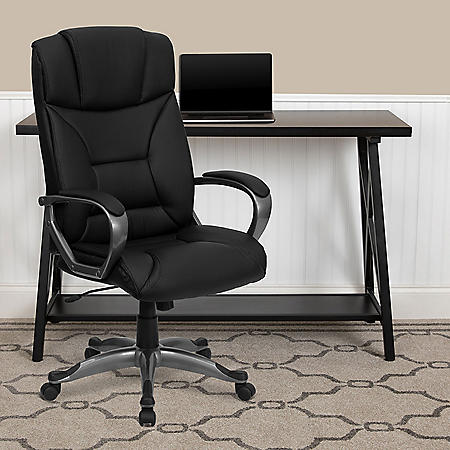 Flash Furniture Leather Executive Office Chair Black - Sam ...