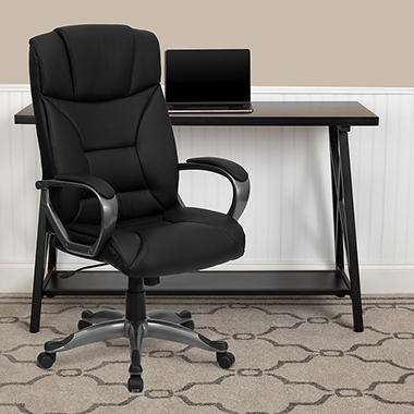 Flash Furniture Leather Executive Office Chair Black