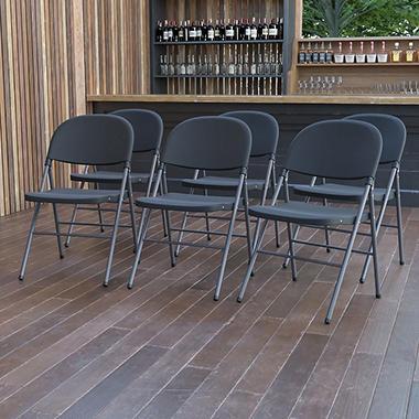Good Hercules Plastic Folding Chair, Black
