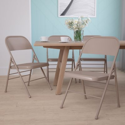 Attirant Hercules Metal Folding Chairs, Beige
