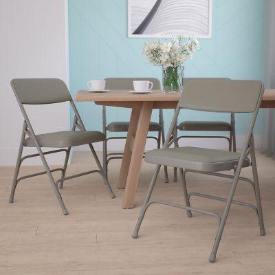 Hercules Vinyl Folding Chairs, Gray